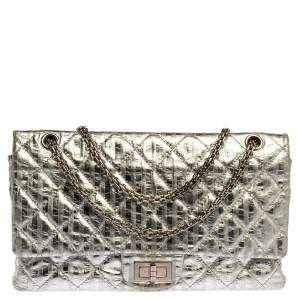 Chanel Silver Striped Quilted Leather Reissue 2.55 Classic 227 Flap Bag