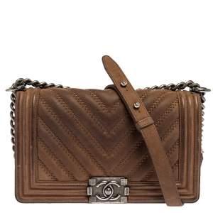 Chanel Brown Quilted Nubuck Medium Boy Flap Bag
