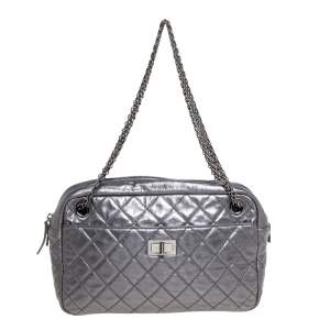 Chanel Metallic Gun Metal Quilted Leather Reissue 2.55 Camera Bag