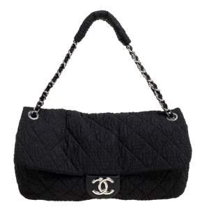 Chanel Black Crinkled Nylon CC Flap Chain Bag