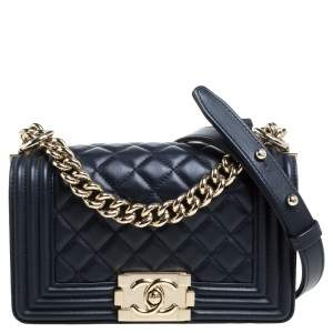 Chanel Dark Blue Quilted Leather Small Boy Flap Bag