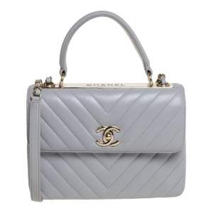 Chanel Grey Chevron Leather Small Trendy CC Flap Top Handle Bag