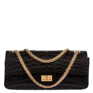 Chanel Black Croc Satin Reissue 225 Flap Bag