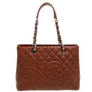 Chanel Caramel Brown Quilted Caviar Leather Grand Shopper Tote