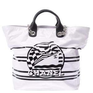 Chanel White Vinyl  2019 La Pausa Bay Shopping Tote Bag