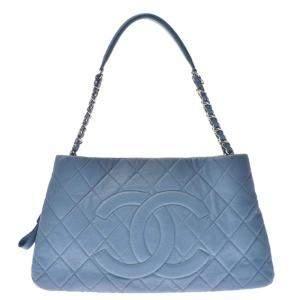 حقيبة كتف شانيل سلسلة جلد كافيار زرقاء