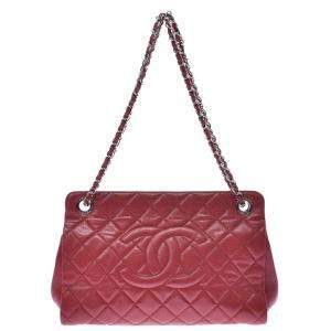 Chanel Red Quilted Caviar Leather Shoulder Bag