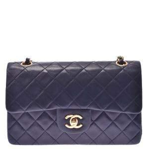Chanel Navy Blue Lambskin Leather Double Flap Shoulder Bag
