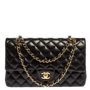 Chanel Black Quilted Leather Medium Vintage Classic Double Flap Bag