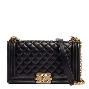 حقيبة شانيل بوي جلد أسود مبطنة متوسطة بقلاب