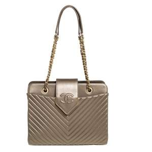 Chanel Olive Green Chevron Quilted Leather Flap Tote