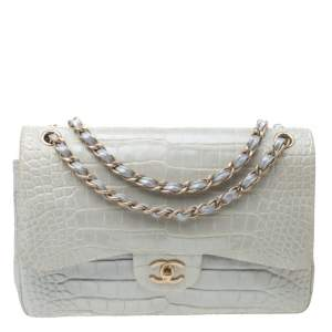 Chanel Light Grey Shimmer Alligator Leather Jumbo Classic Double Flap Bag