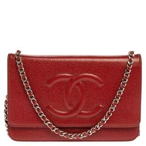 Chanel Red Caviar Leather CC Timeless Wallet On Chain