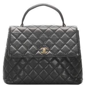 Chanel Black Caviar Leather Kelly Tote Bag