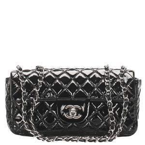 Chanel Black Patent Leather East West Classic Single Flap Bag