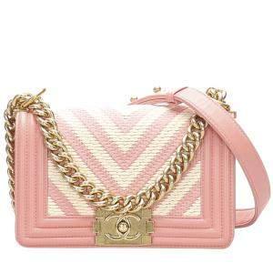 Chanel Pink/White Lambskin Leather Small Boy Braided Chevron Flap Bag