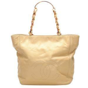 Chanel Beige CC Lambskin Leather Tote Bag