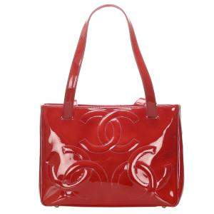 Chanel Red Patent Leather Triple Coco Tote Bag