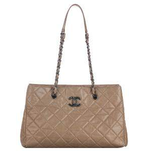 Chanel Beige Calf Leather CC Quilted Shoulder Bag
