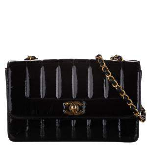 Chanel Black Patent Leather Mademoiselle Ligne Small Flap Bag