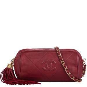 Chanel Red Lambskin Leather CC Crossbody Bag