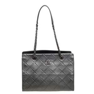 Chanel Grey Quilted Leather Propeller Tote