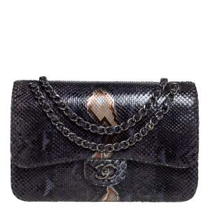 Chanel Blue Python Jumbo Classic Single Flap Bag