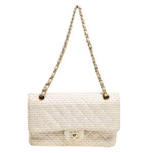 Chanel Off White/Gold Quilted Tweed Medium Classic Double Flap Bag