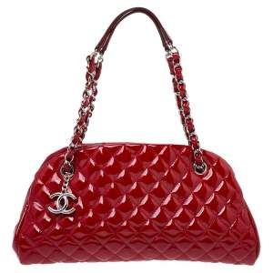Chanel Red Quilted Patent Leather Just Mademoiselle Bowler Bag