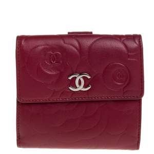 Chanel Red Leather Camellia Embossed French Wallet