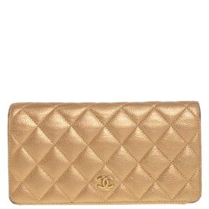 Chanel Metallic Gold Quilted Caviar Leather CC Yen Wallet