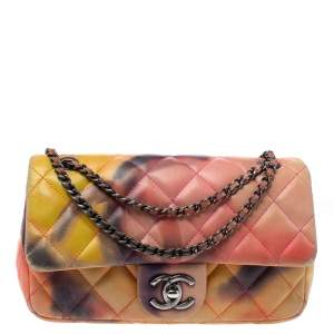 Chanel Multicolor Quilted Leather Small Classic Flower Power Single Flap Bag