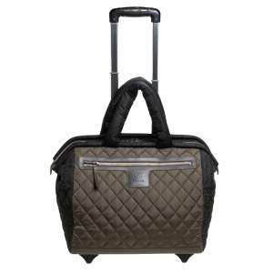 Chanel Fatigue Quilted Nylon Coco Cocoon Rolling Trolley