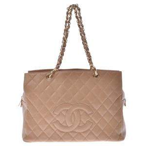 Chanel Beige Caviar Leather Vintage CC Tote Bag