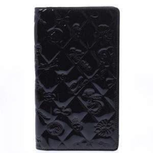 Chanel Black Patent Leather Symbols Yen Wallet