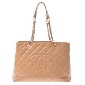 Chanel Beige Caviar Leather Grand Shopping Tote Bag