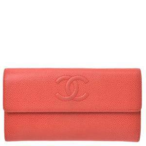 Chanel Red Caviar Leather CC Wallet