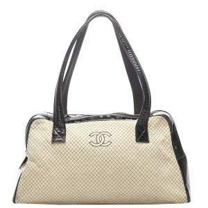 Chanel Brown/Beige CC Quilted Canvas Vintage Shoulder Bag