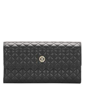 Chanel Black Lambskin Leather Matelasse Wallet