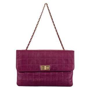 Chanel Purple/Red Choco Bar Reissue Leather Shoulder Bag