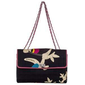 Chanel Black Choco Bar Cotton Reissue Shoulder Bag