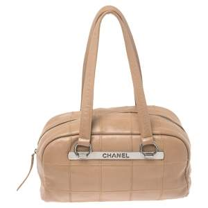 Chanel Nude Beige Square Quilted Caviar Leather LAX Bowler Bag
