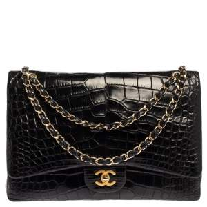 Chanel Black Crocodile Leather Classic Maxi Single Flap Bag