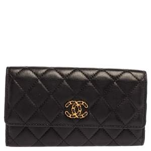 محفظة شانيل CC 19 جلد مبطن أسود