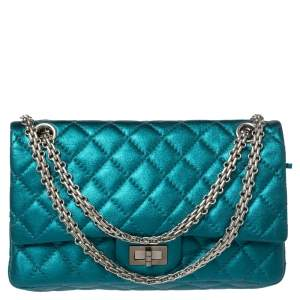 Chanel Metallic Green Quilted Leather Reissue 2.55 Classic 225 Flap Bag