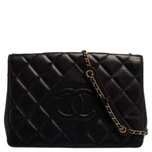 Chanel Black Quilted Leather Diamond CC Flap Shoulder Bag