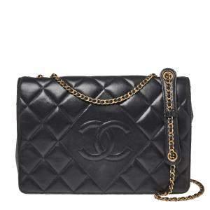 Chanel Black Quilted Leather Diamond CC Flap Shoulder Bag