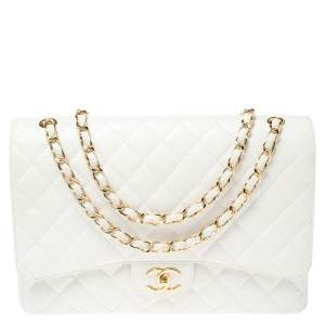 Chanel White Quilted Caviar Leather Maxi Classic Double Flap Bag