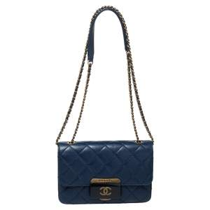 Chanel Blue Leather Mini Beauty Lock Flap Bag