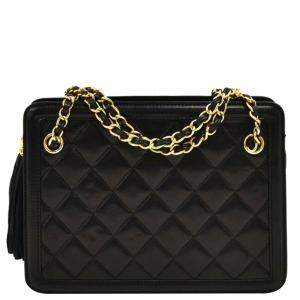Chanel Black Quilted Leather Chain Tote